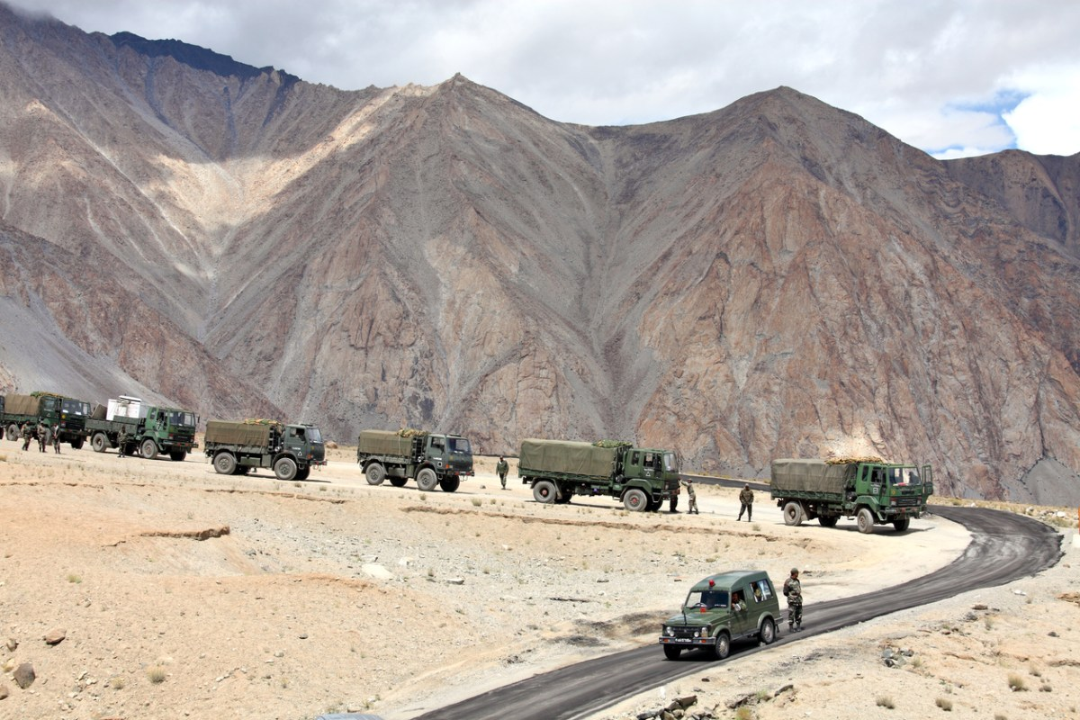 Indian army convoy of trucks delivering supplies to remote military installations in Kashmir. Photo: iStock