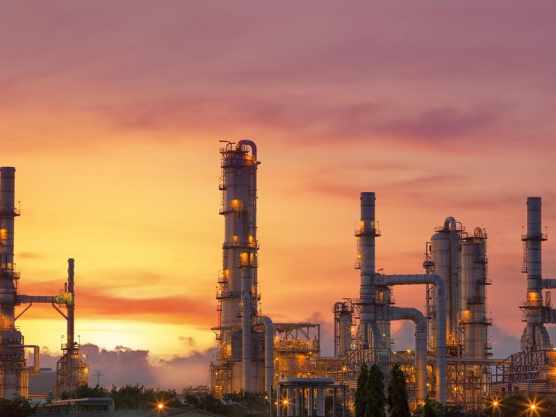 A Saudi Arabian oil refinery at dusk. Photo: iStock