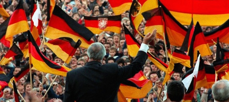"""Chancellor of German Unity"" Helmut Kohl speaking at an electoral rally in Erfurt (East Germany) on February 20, 1990"