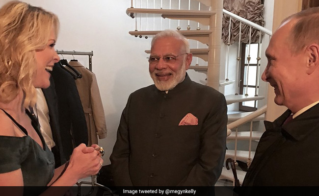 US journalist Megyn Kelly meets with Russian President Vladimir Putin and Indian Prime Minister Narendra Modi in the Russian city of St Petersburg. Photo: Megyn Kelly