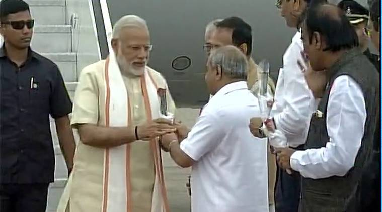Prime Minister Narendra Modi arrives in Gujarat for a two-day visit. Photo: ANI