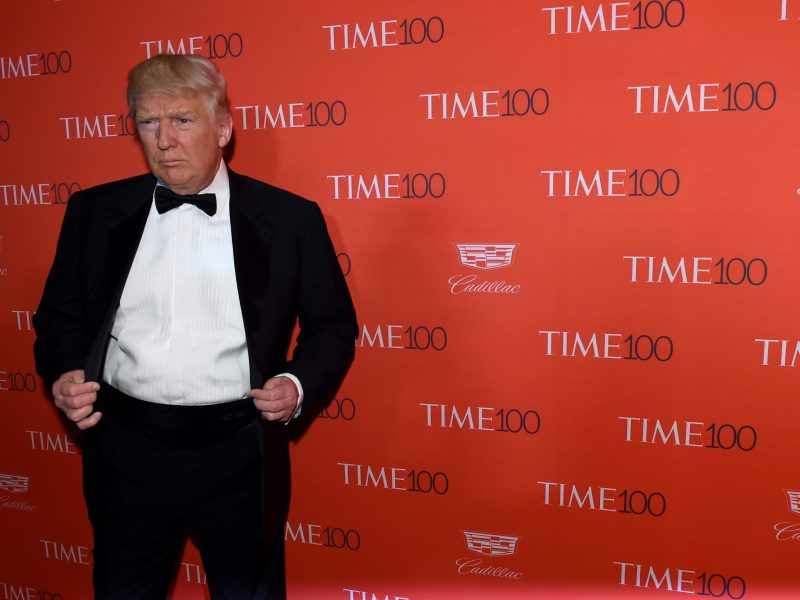 The then Republican presidential candidate Donald Trump arrives for Time magazine's Time 100 Gala at New York's Lincoln Center on April 26, 2016. Photo: AFP / Timothy A Clary
