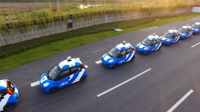 A fleet of vehicles is seen equipped with Baidu's autonomous driving technologies.  Photo: Reuters / Baidu