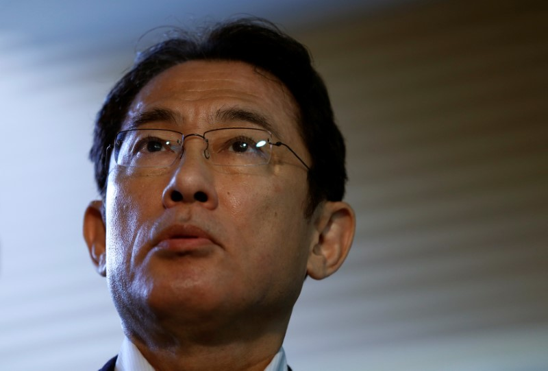 FILE PHOTO: Japan's Foreign Minister Fumio Kishida speaks to media after National Security Council (NSC) meeting on a suspected nuclear test by North Korea, at prime minister Shinzo Abe's official residence in Tokyo, Japan, September 9, 2016. REUTERS/Issei Kato