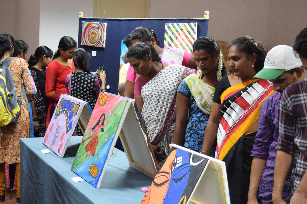 Transgender artists exhibit their artworks at the Central University of Tamil Nadu. Photo: CUTN