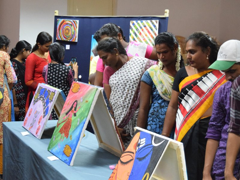 Transgender artists exhibit their artworks at the Central University of Tamil Nadu. Photo: CUTN