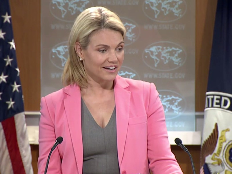 US Department of State spokesperson Heather Nauert speaking during a press breifing Tuesday. Photo: US Department of State