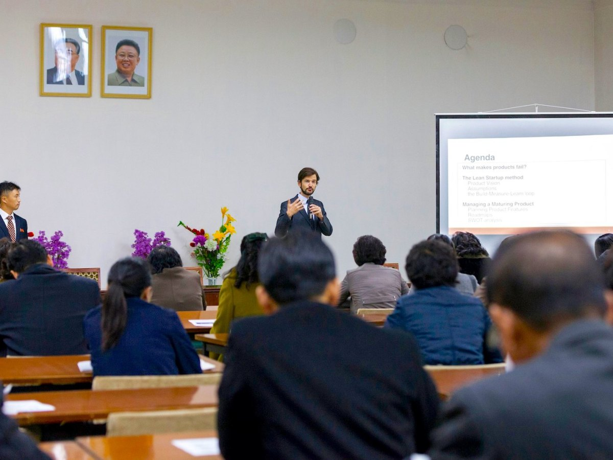 Lecturer Ian Bennett from Choson Exchange explains how to scale a product successfully during the Women In Business program held in Pyongyang in 2015. Photo: Choson Exchange.
