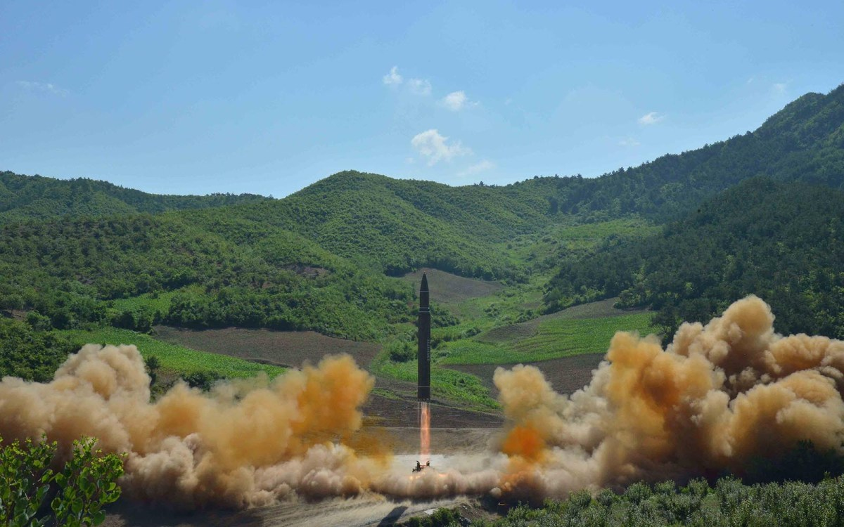 The Hwasong-14 is seen in an undated photo released by North Korea's Korean Central News Agency. Photo: KCNA via Reuters
