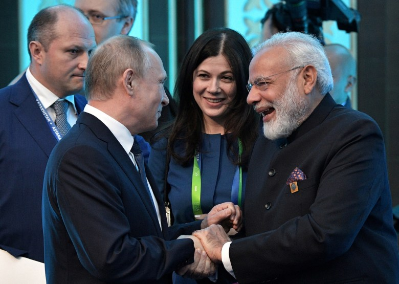 Russian President Vladimir Putin and Indian Prime Minister Narendra Modi meet at the SCO summit in Astana, Kazakhstan, on June 9, 2017. Photo: Sputnik / Alexei Nikolsky / Kremlin via Reuters