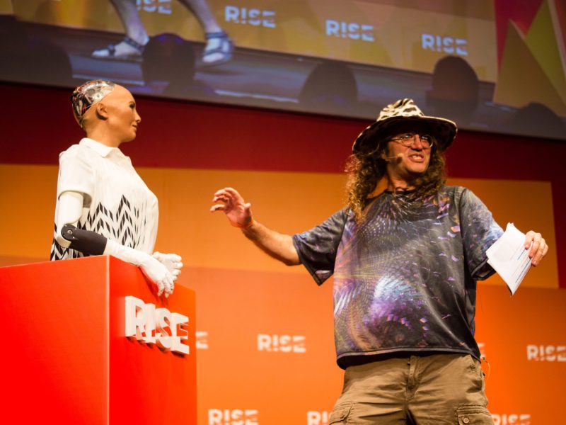 Ben Goertzel, chief scientist at Hanson Robotics, introduces his company's female robot, Sophia, at the RISE conference 2017. Photo: Asia Times/Lin Wanxia