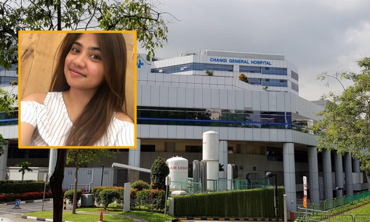 Karisse Santos Arellano (inset), who works at Changi General Hospital in Singapore. Photos: Google Maps, Facebook/Karisse Joanne Santos.