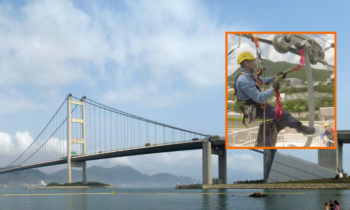 A high-angle rescue team was deployed to Tsing Ma Bridge. Photos: Wikimedia Commons, Hong Kong Fire Services Department