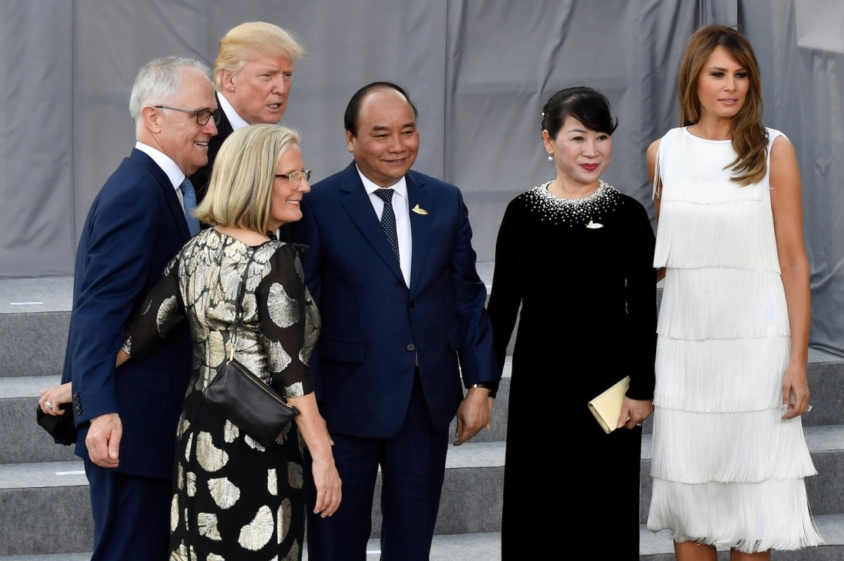 Australian PM Malcolm Turnbull and his wife Lucy (left) are seen with US President Donald Trump, Vietnamese PM Nguyen Xuan Phuc, his wife Tran Nguyet Thu, and US First Lady Melania Trump prior a concert during the G-20 Summit in Hamburg on July 7. Photo: AFP