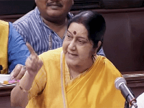 Indian External Affairs Minister Sushma Swaraj speaks in Parliament on Thursday. Photo: Economic Times