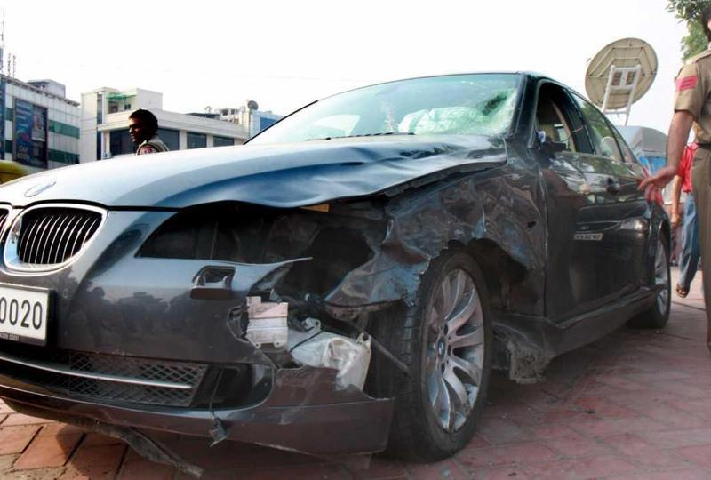 The BMW Utsav Bhasin was driving when he hit Anuj Chauhan and Mrigank Shrivastava in south Delhi in 2008. Photo: Hindustan Times