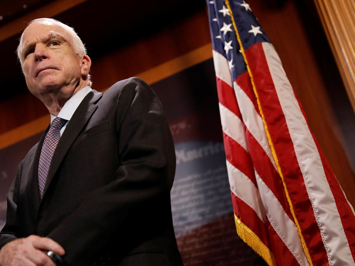 Senator John McCain looks on during a press conference in July. Photo: Reuters / Aaron P Bernstein