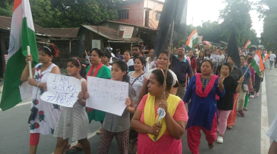 GJM activists in Siliguri demand a separate state of Gorkhaland on June 24. Photo: IANS