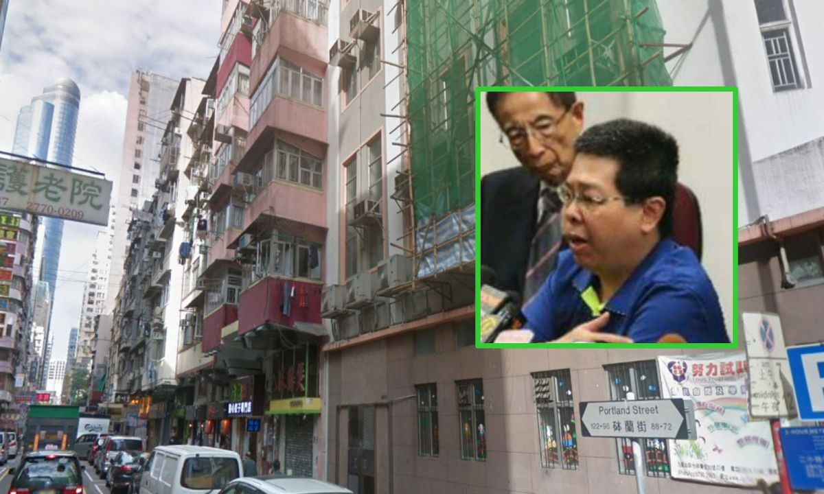 Howard Lam Tsz-kin (inset) said he was abducted on Portland Street in Yau Ma Tei last Thursday. Photos: Google Maps, Facebook, Democratic Party