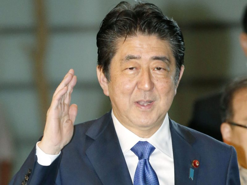 Japanese Prime Minister Shinzo Abe arrives at his official residence in Tokyo on August  15, 2017. Photo: Kyodo/via Reuters.