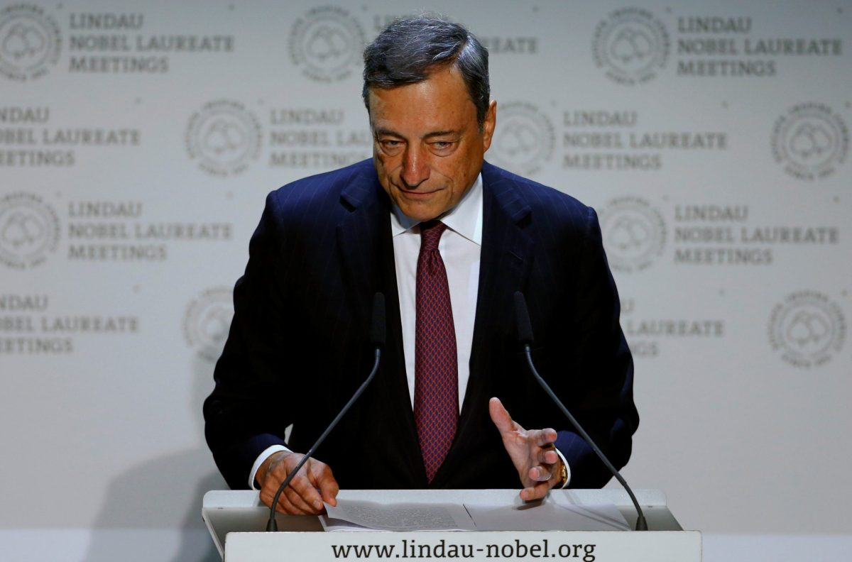 ECB President Mario Draghi gives a speech during Lindau Nobel Laureate Meetings in Lindau, Germany. Photo: Reuters/Arnd Wiegmann