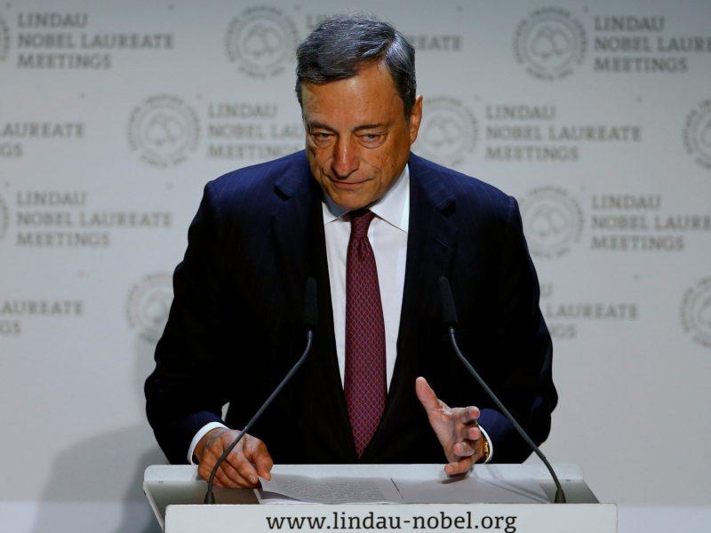 ECB President Mario Draghi gives a speech during Lindau Nobel Laureate Meetings in Lindau, Germany. Photo: Reuters/Arnd Wiegmann