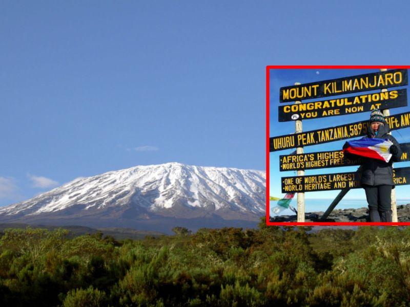 Liza Avelino at the top of Mount Kilimanjaro in Tanzania. Photo: Liza Avelino, Chris 73, Wikipedia Commons