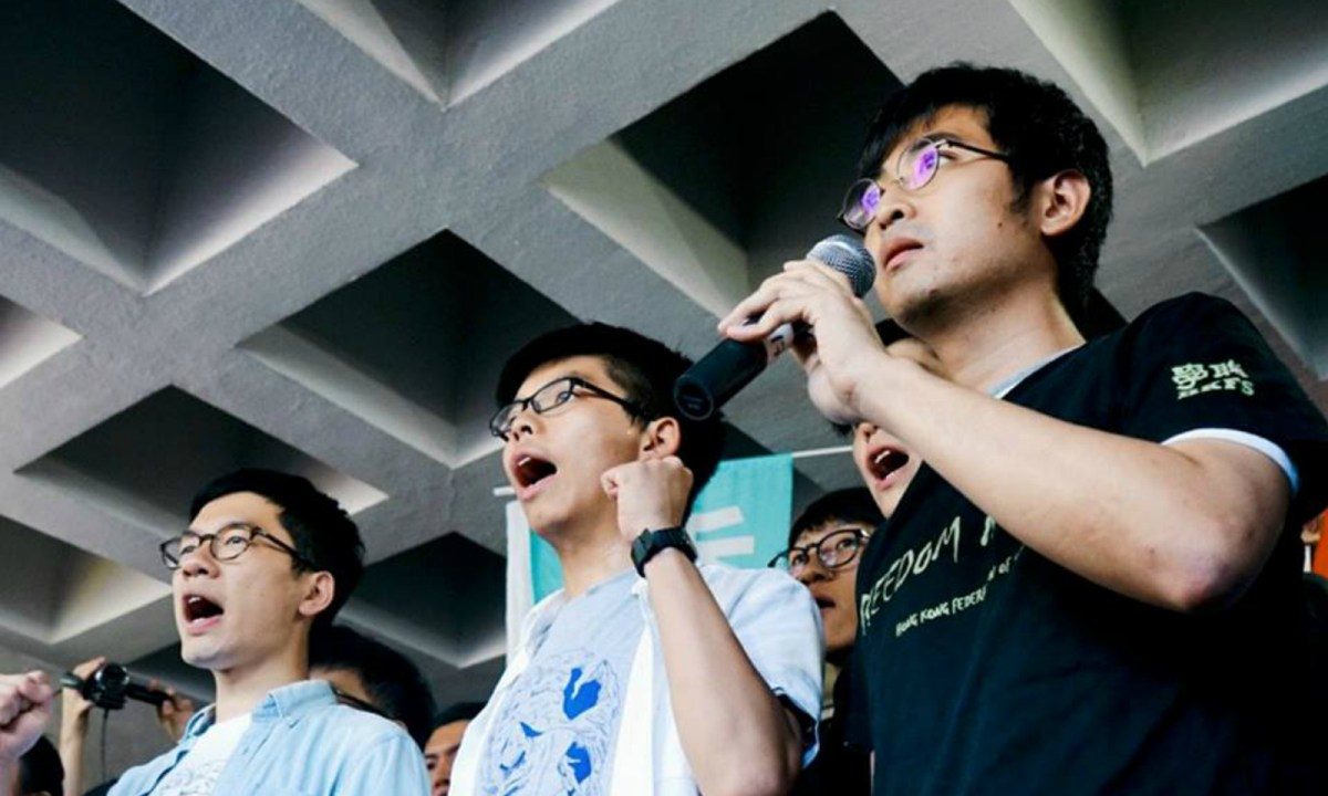 From left: Nathan Law, Joshua Wong and Alex Chow were jailed for illegal assembly. Photo: Demosistō @Facebook
