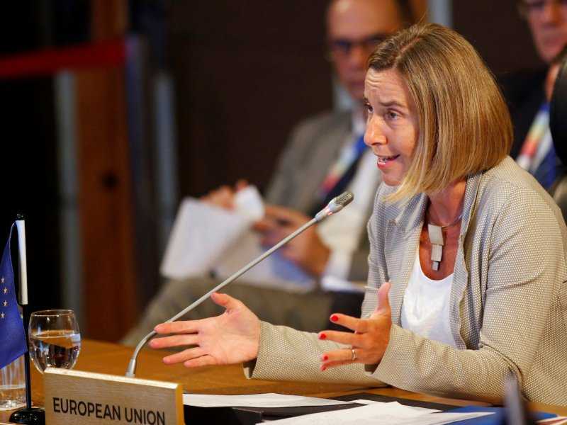 EU foreign affairs chief Federica Mogherini speaks at an Asean-EU meeting in Manila in August 2017. Photo: Reuters / Dondi Tawatao