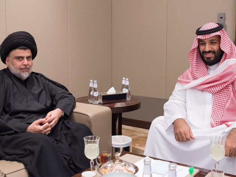 Shi'ite leader Muqtada al-Sadr meets with Saudi Crown Prince Mohammed bin Salman in Jeddah, Saudi Arabia on July 30, 2017. Photo: Reuters via Bandar Algaloud/Courtesy of Saudi Royal Court