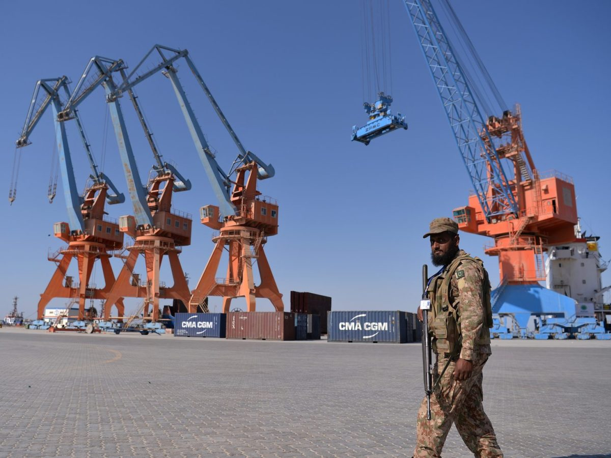 A Pakistani soldier looks on during the opening of a trade project at the China-backed Gwadar port on November 13, 2016. Photo: AFP/ Aamir Qureshi