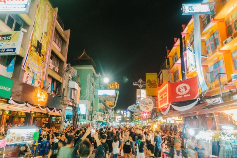 Crowd on Khao San Road in Bangkok
