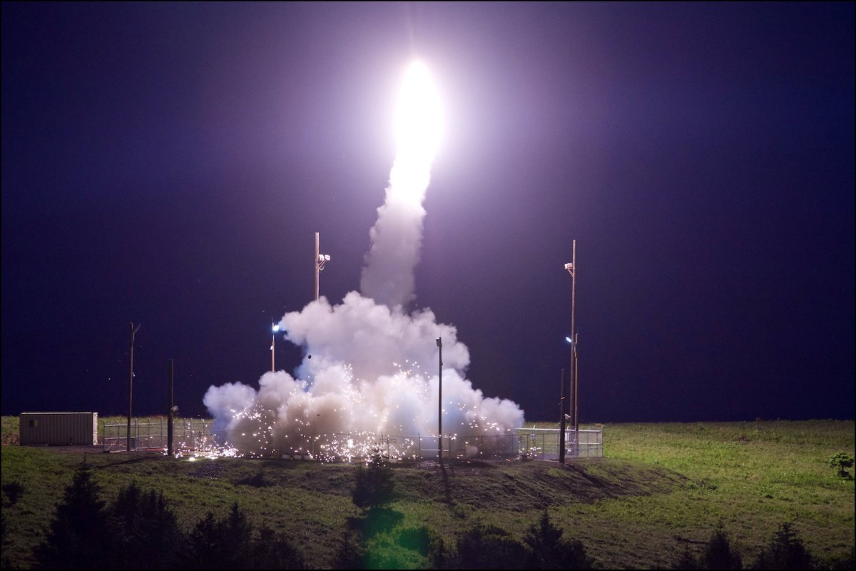A THAAD interceptor is test-launched in Kodiak, Alaska, on July 11, 2017. Photo: Leah Garton / Missile Defense Agency / Handout via Reuters