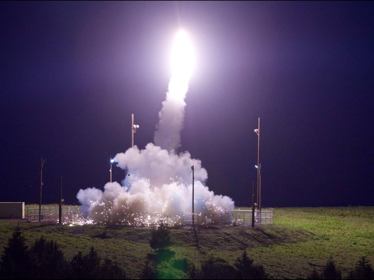 A THAAD interceptor is test-launched in Kodiak, Alaska, on July 11, 2017. Photo: Leah Garton / Missile Defense Agency / Handout via Reuters
