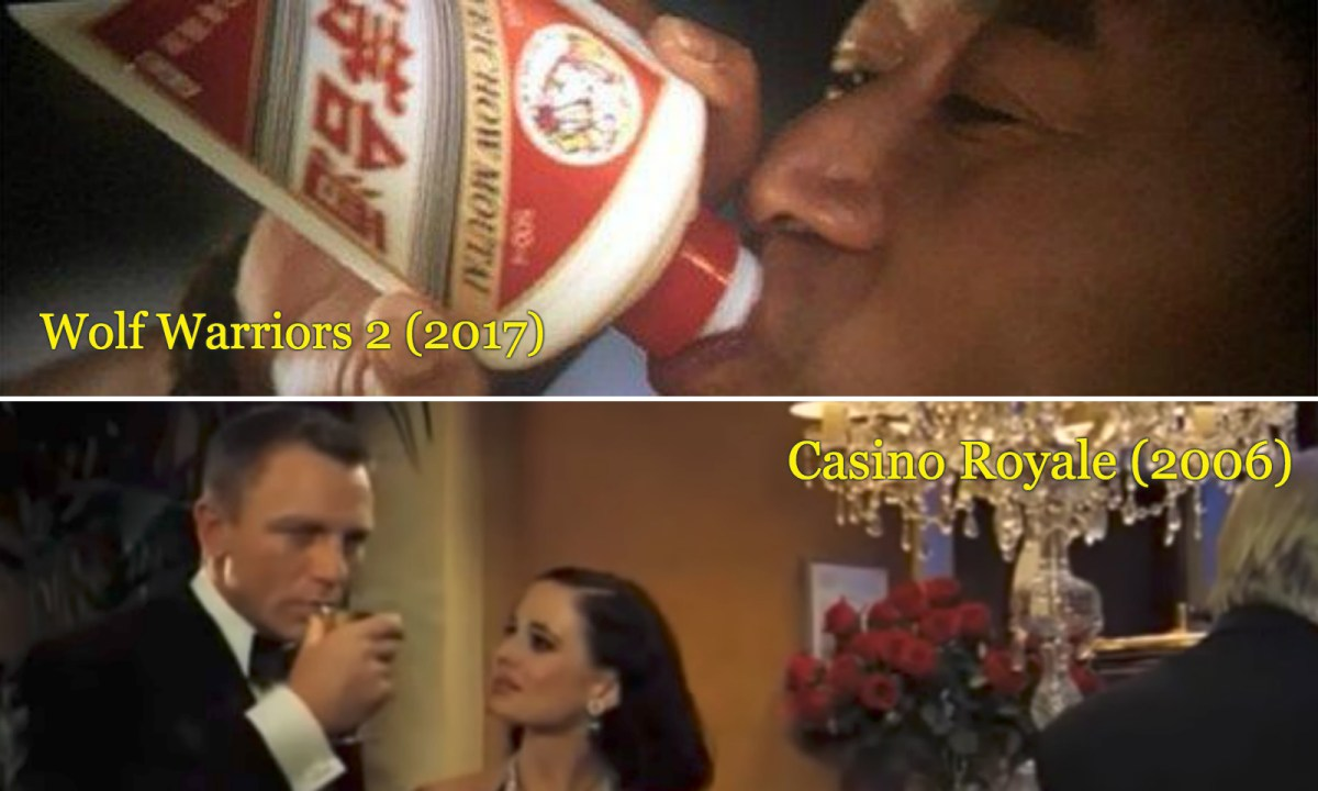 Wu Jing plays a Chinese hero who drinks Moutai in Wolf Warriors 2, while Daniel Craig, as James Bond, drinks a Vesper Martini in Casino Royale. Photos: Wolf Warriors 2, MGM/Columbia Pictures