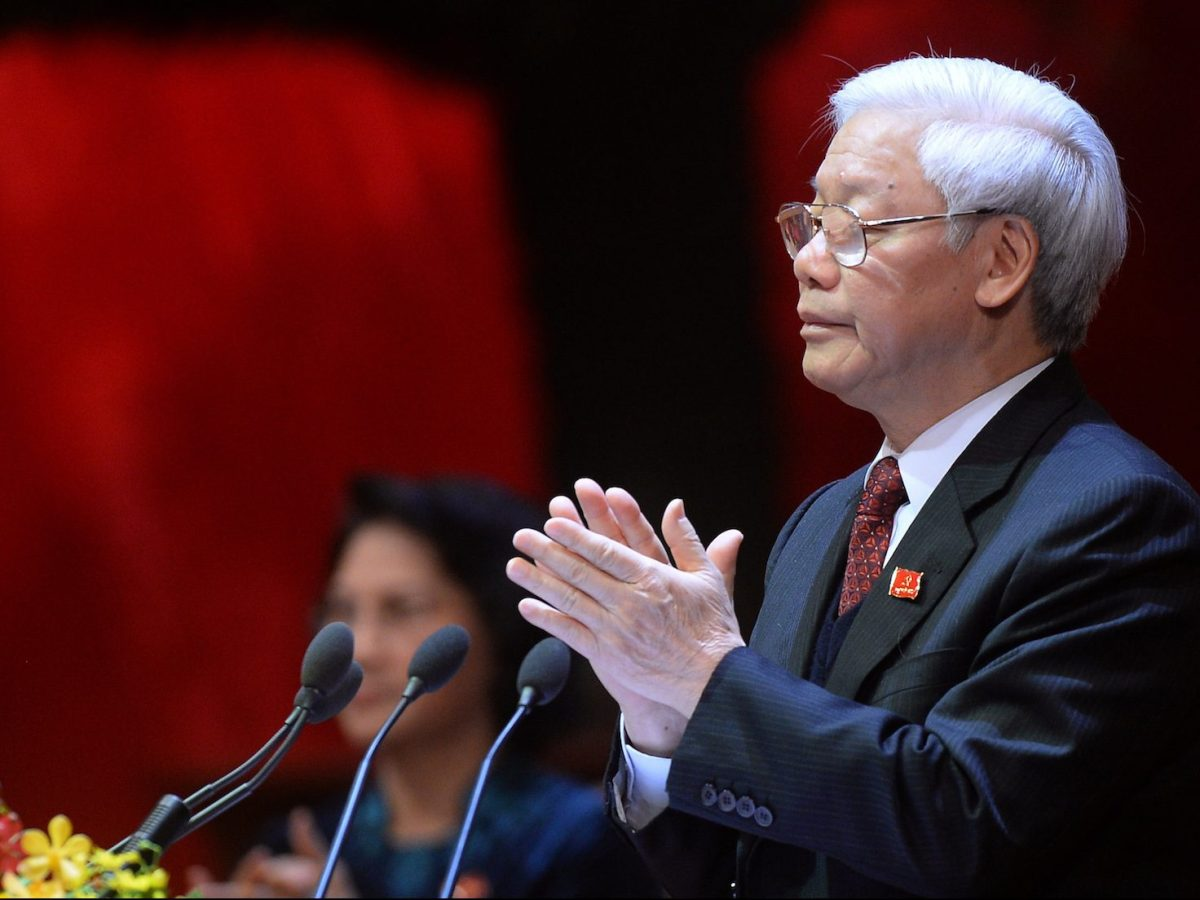 Communist Party Secretary General Nguyen Phu Trong applauds after delivering a speech at the closing ceremony on the final day of the 12th National Congress of Vietnam's Communist Party in Hanoi on January 28, 2016. country. Photo: AFP/Hoang Dinh Nam
