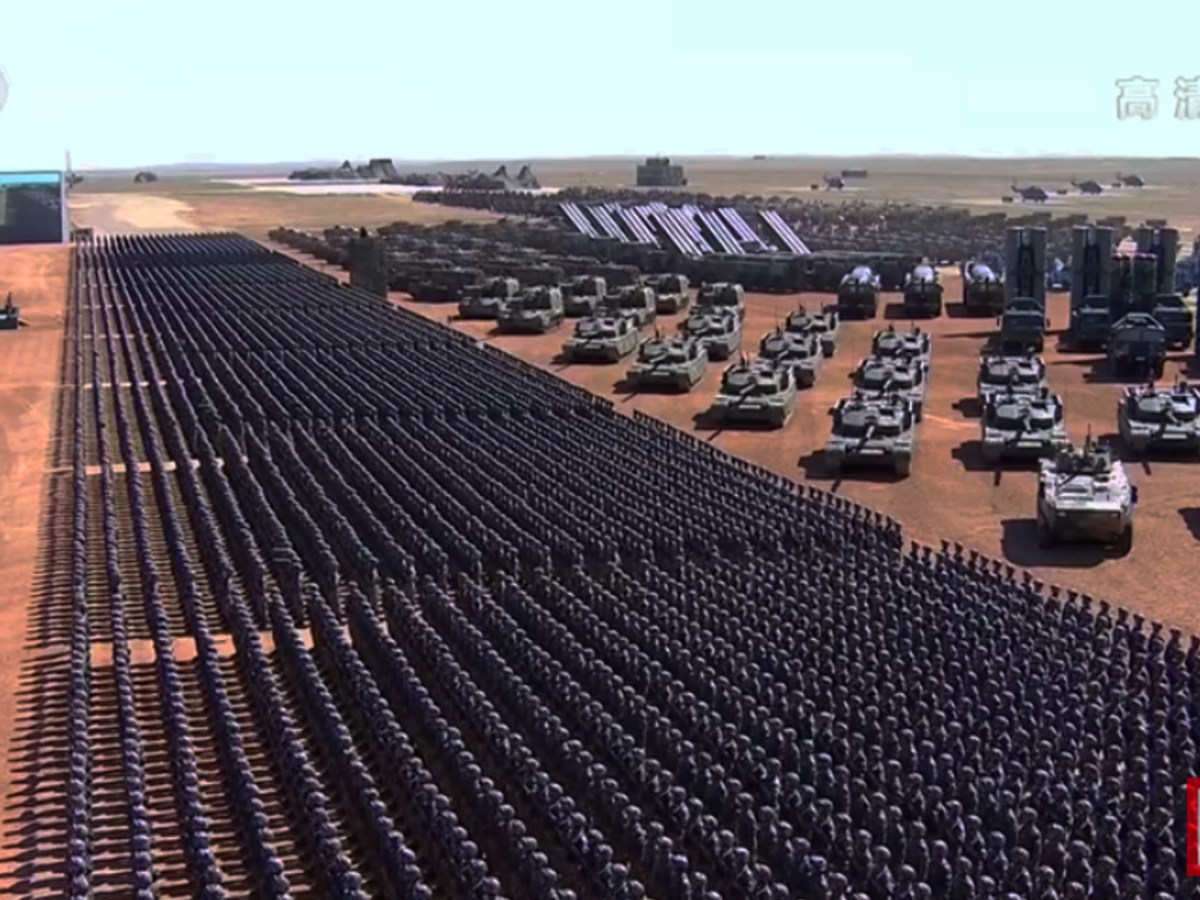 Chinese troops march during a military parade in Zhurihe, Inner Mongolia. Source: CCTV