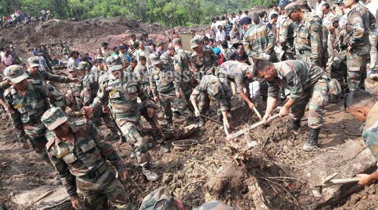At least 46 people were killed by a landslide in Himachal Pradesh's Mandi district on Sunday morning. Photo: The Indian Express