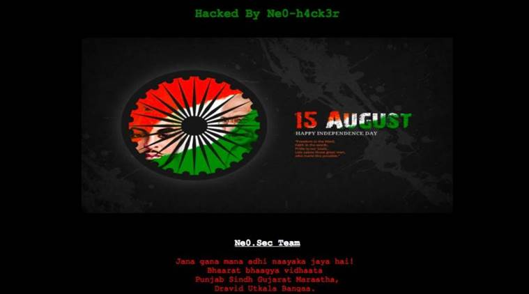 Hackers posted an Indian Independence Day greeting with the national anthem playing in the background on the Pakistani government's official website. Photo: Twitter/@harshf1)