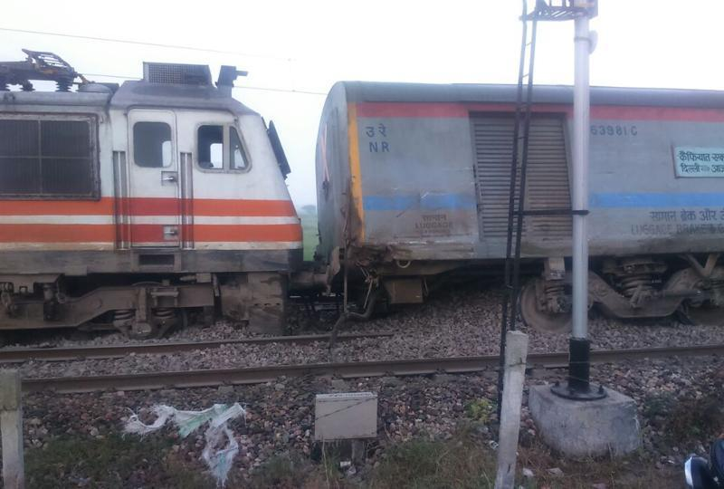 The Kaifiyat Express derailed in Auraiya district of Uttar Pradesh early Wednesday. Photo: Hindustan Times