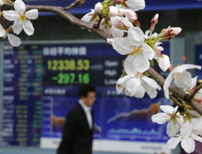A man walks past an electronic screen displaying the Nikkei share average as cherry blossoms are in full bloom outside a brokerage in Tokyo March 22, 2013.  Reuters/Toru Hanai