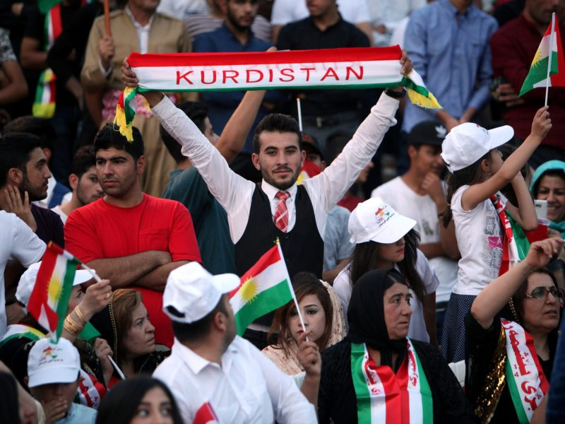 Kurds show their support for the upcoming independence referendum at a rally in Erbil, Iraq, on September 16, 2017. Photo: Reuters / Azad Lashkari