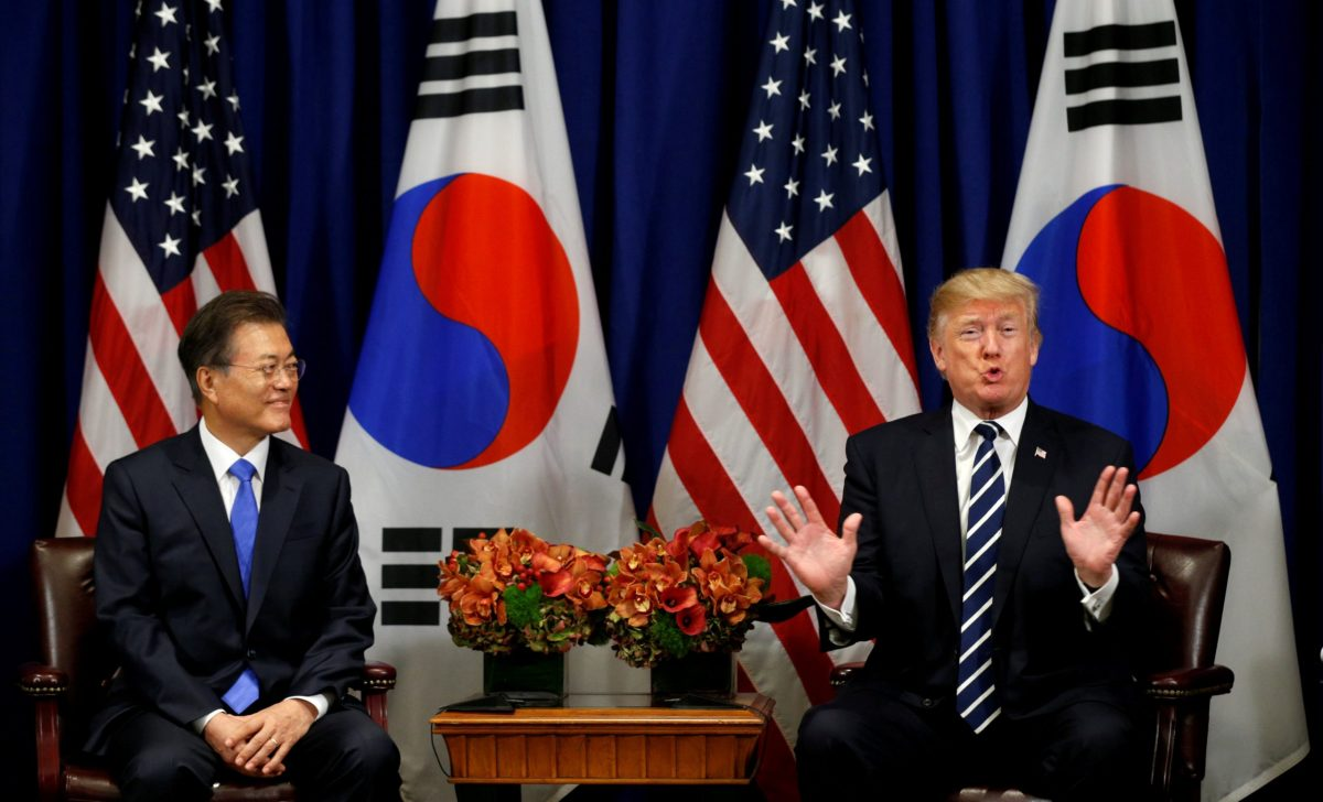 US President Donald Trump meets with South Korean President Moon Jae-in during the UN General Assembly in New York. Photo: Reuters / Kevin Lamarque