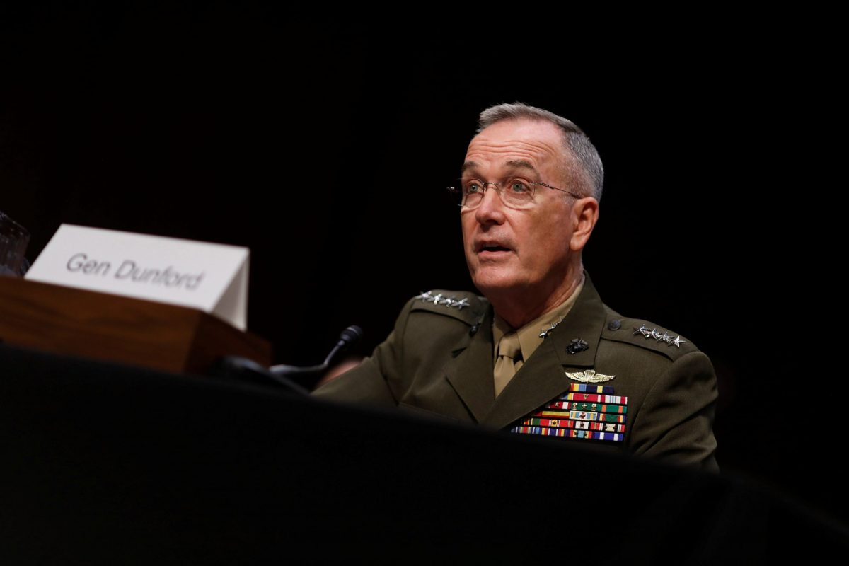 General Joseph Dunford, chairman of the US Joint Chiefs of Staff, testifies before the Senate Armed Services Committee in Washington on September 26, 2017. Photo: Reuters / Aaron P Bernstein