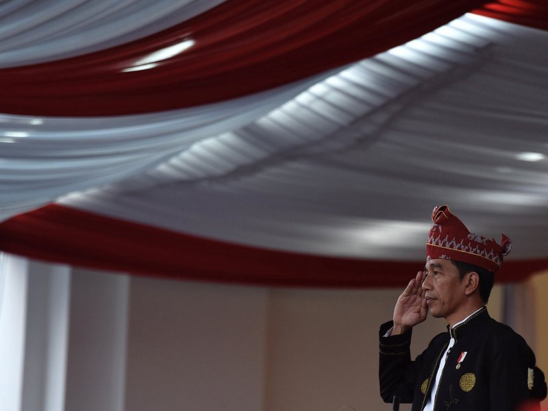 Indonesia President Joko Widodo salutes during a ceremony to mark Independence Day at the Presidential Palace in Jakarta, August 17, 2017 Photo: Antara Foto via Reuters/Puspa Perwitasari