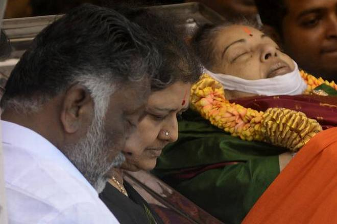 The body of former Tamil Nadu chief minister J Jayalalithaa at Rajaji Hall in Chennai on December 6, 2016. Photo: The Hindu