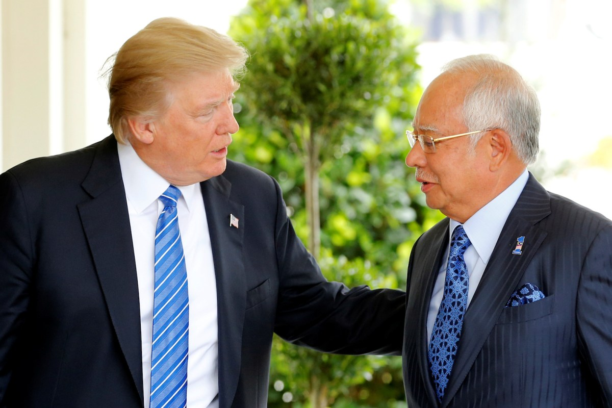 US President Donald Trump welcomes Malaysian Prime Minister Najib Razak to the White House on September 12, 2017. Photo: Reuters Jonathan Ernst