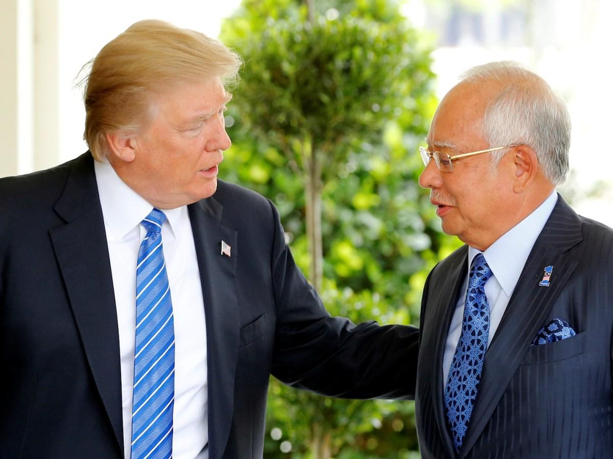 US President Donald Trump welcomes Malaysian Prime Minister Najib Razak to the White House on September 12, 2017. Photo: Reuters Jonathan Ernst