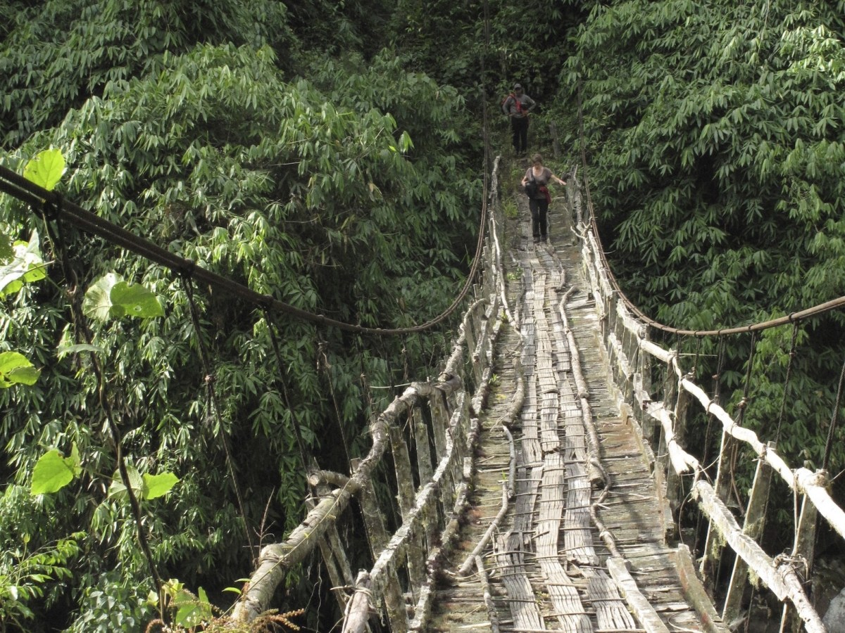 A bamboo bridge in Myanmar's Putao region in northern Kachin State. The United Nations is considering designating the area a World Heritage Site. Photo: AFP Forum