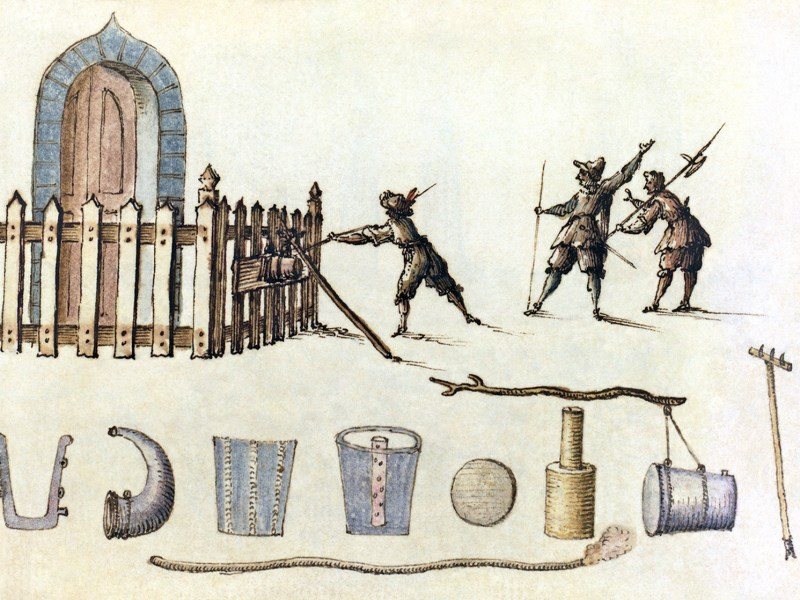 A petard, from a 17th-century manuscript of military designs. Photo: Wikipedia
